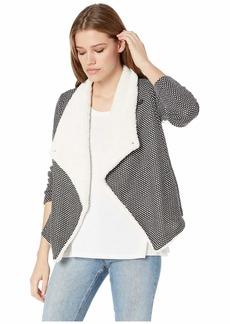 BB Dakota Scratch That Crosshatch Knit Jacket with Sherpa Collar