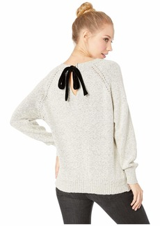 BB Dakota Secret Bow-Mance Cable Knit Sweater with Contrast Velvet Tie