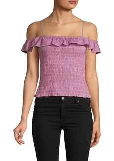 BB Dakota Smocked Ruffle Cotton Cropped Top