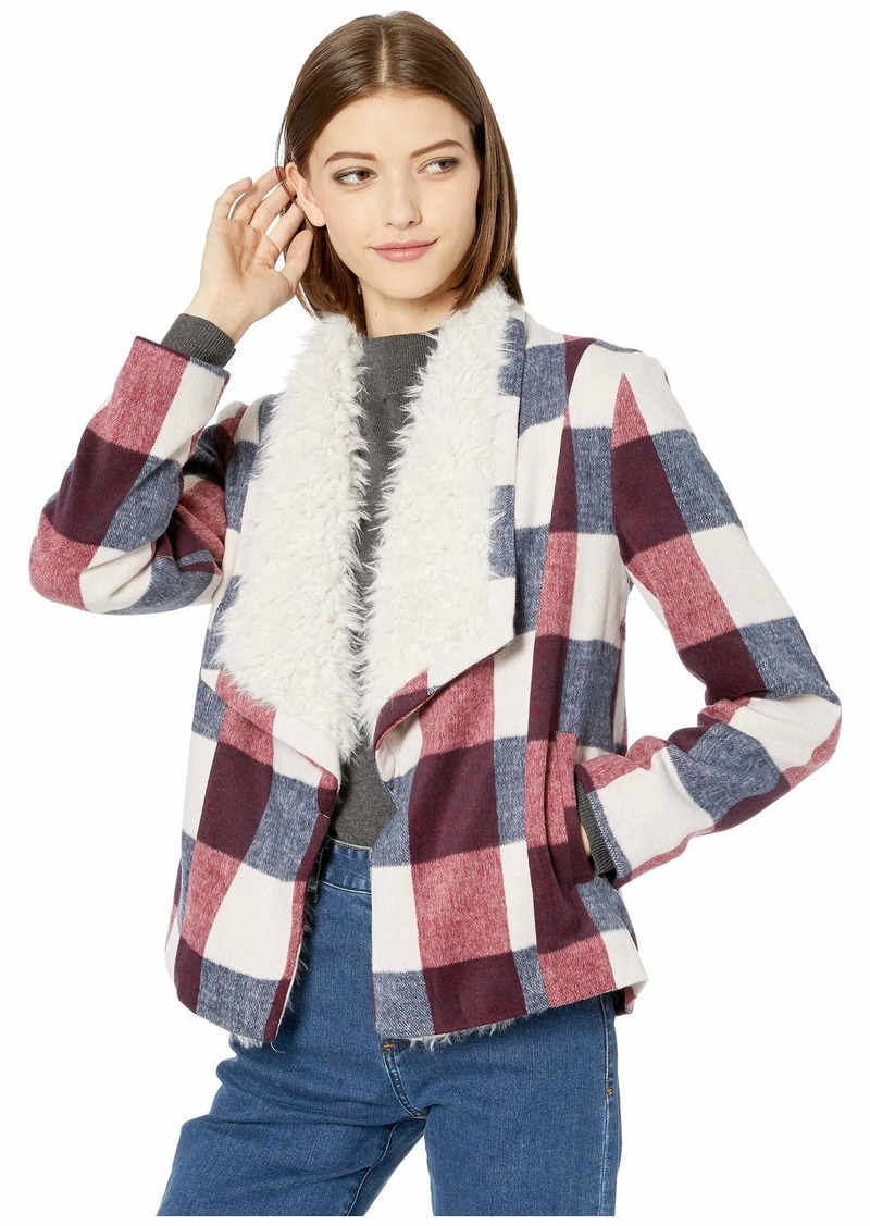 BB Dakota Square It Well Brushed Plaid Jacket with Faux Fur Shearling