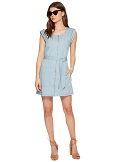 BB Dakota Stefania Washed Out Chambray Zip Front Dress