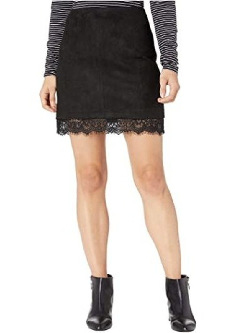 BB Dakota Too Little Too Lace Faux Suede Mini Skirt with Lace Trim