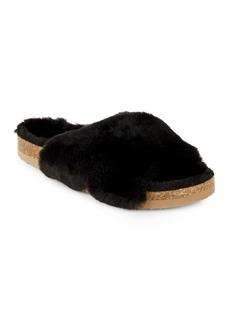 BC Footwear Faux Fur Crisscross Sliders