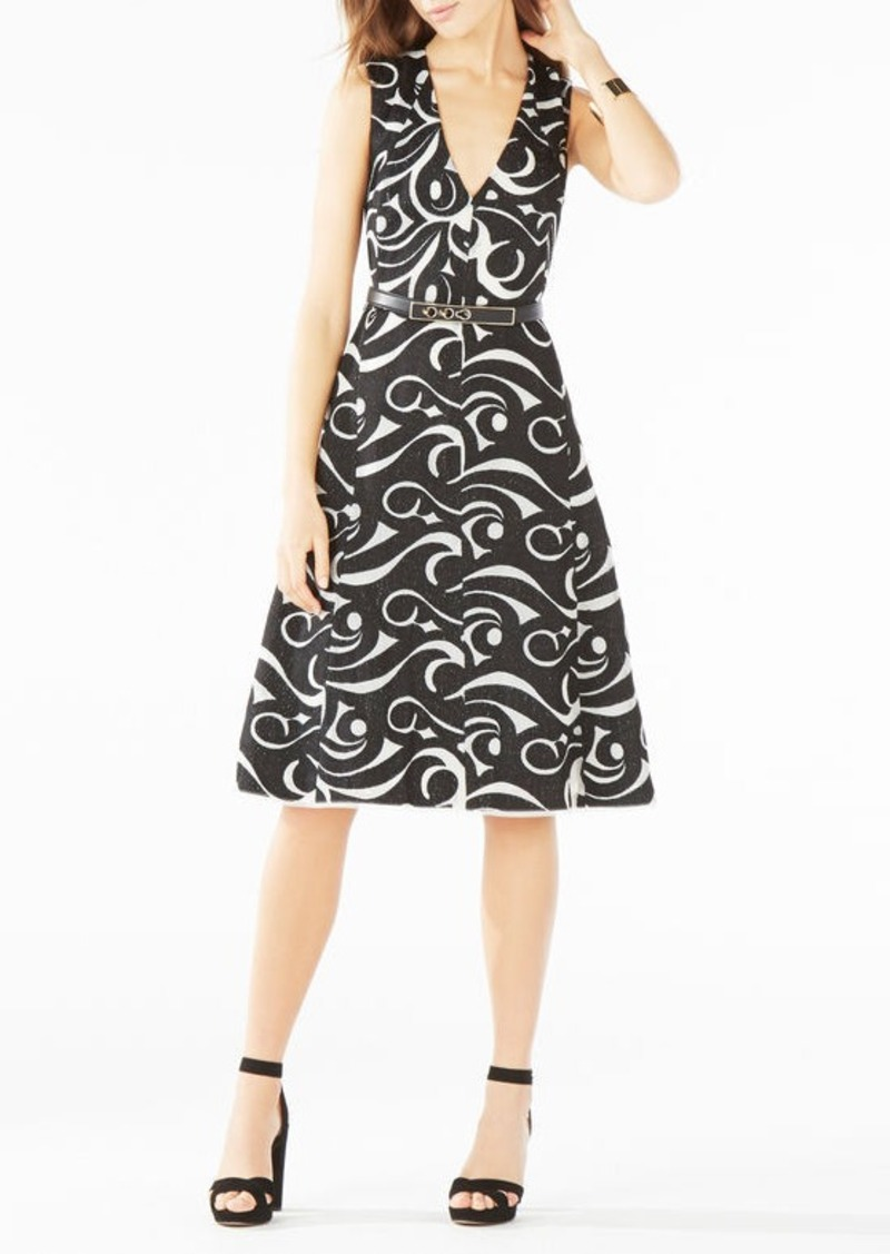 BCBG Abilene Swirl Embroidered Mesh Dress