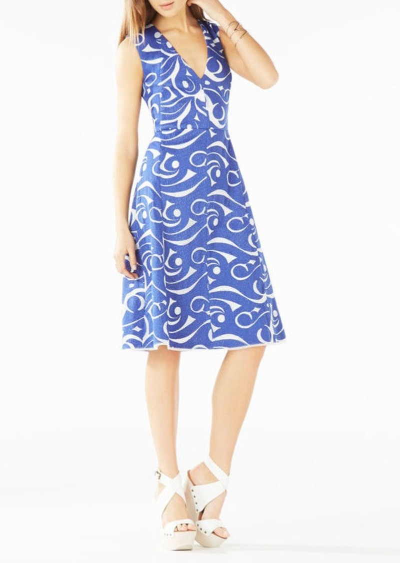 BCBG Abilene Swirl Embroidered Mesh Dress