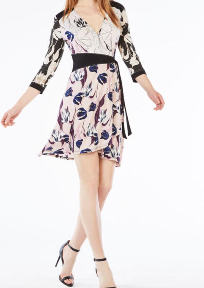 BCBG Adele Tulip Print-Blocked Wrap Dress