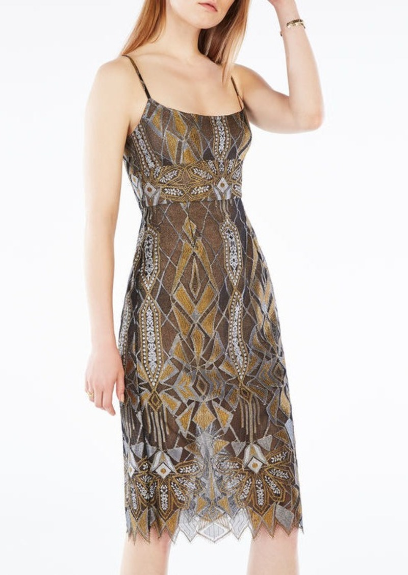 BCBG Alese Metallic Geometric Lace Dress
