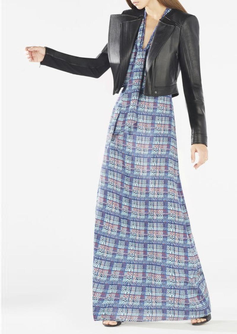 BCBG Alicha Tie-Neck Plaid Dress