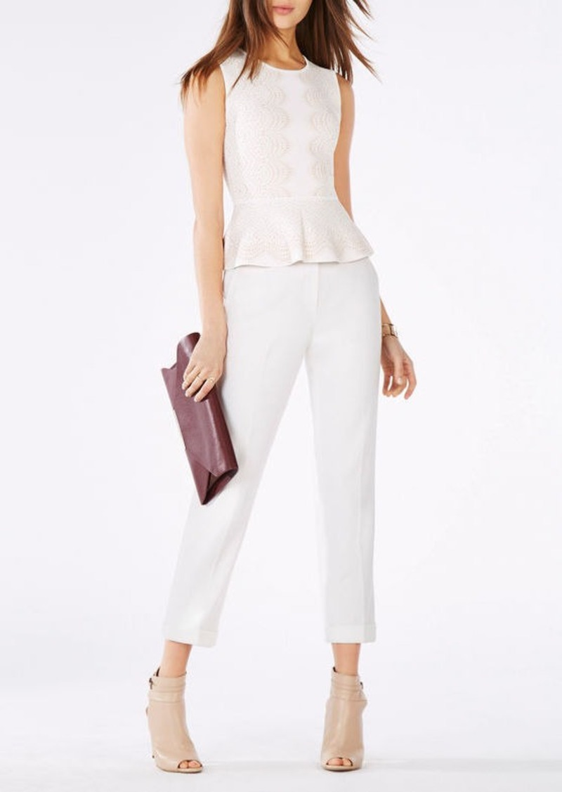 BCBG Alonya Knit Jacquard Peplum Top