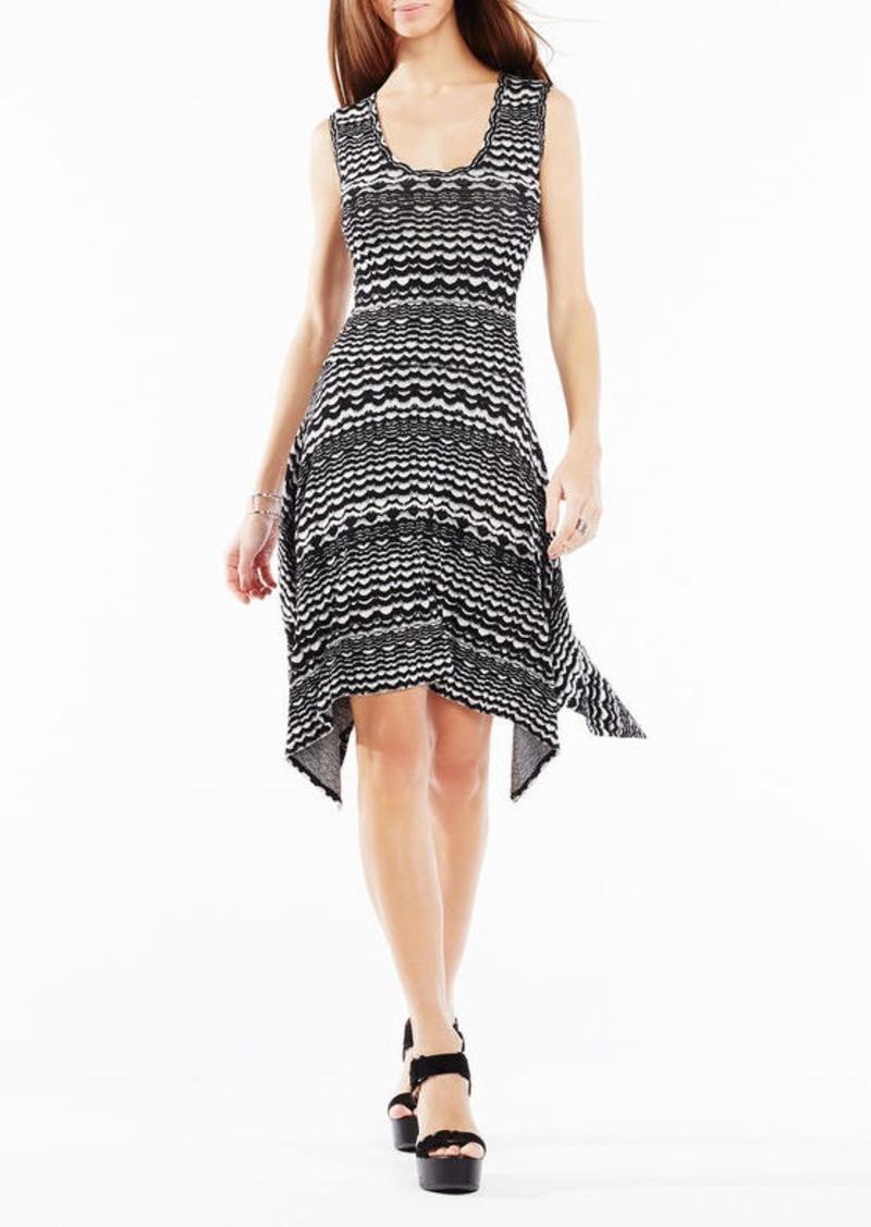 BCBG Ane Striped Knit Jacquard Dress