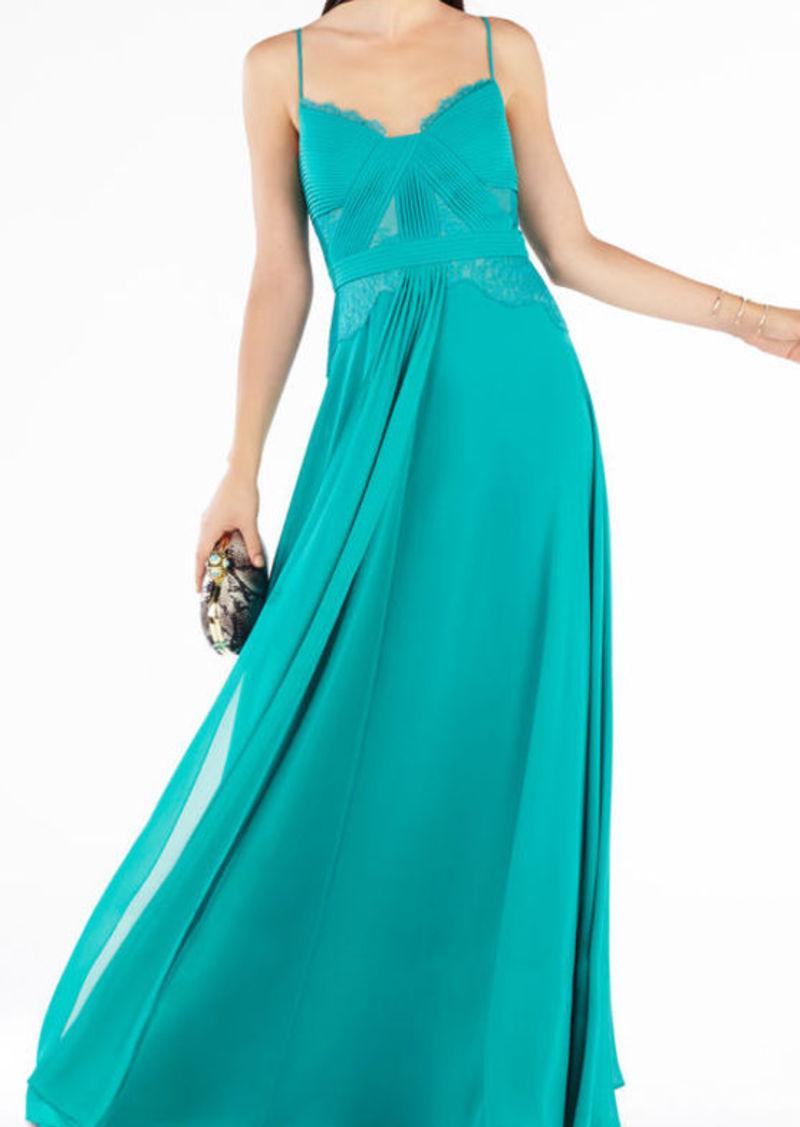 BCBG Antonea Lace-Trim Pleated Gown