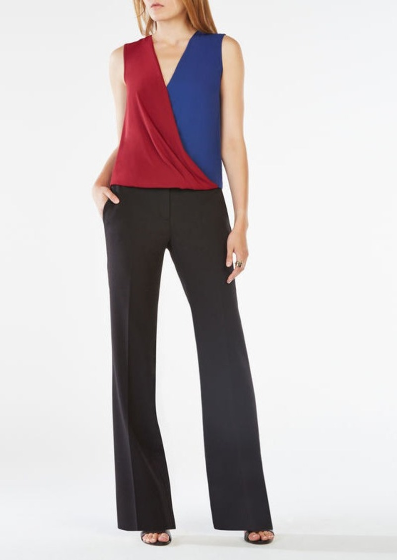 BCBG Antonella Color-Blocked Wrap Top