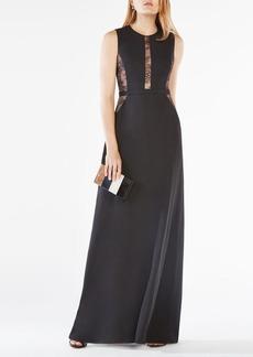 Ashlee Lace-Paneled Satin Gown