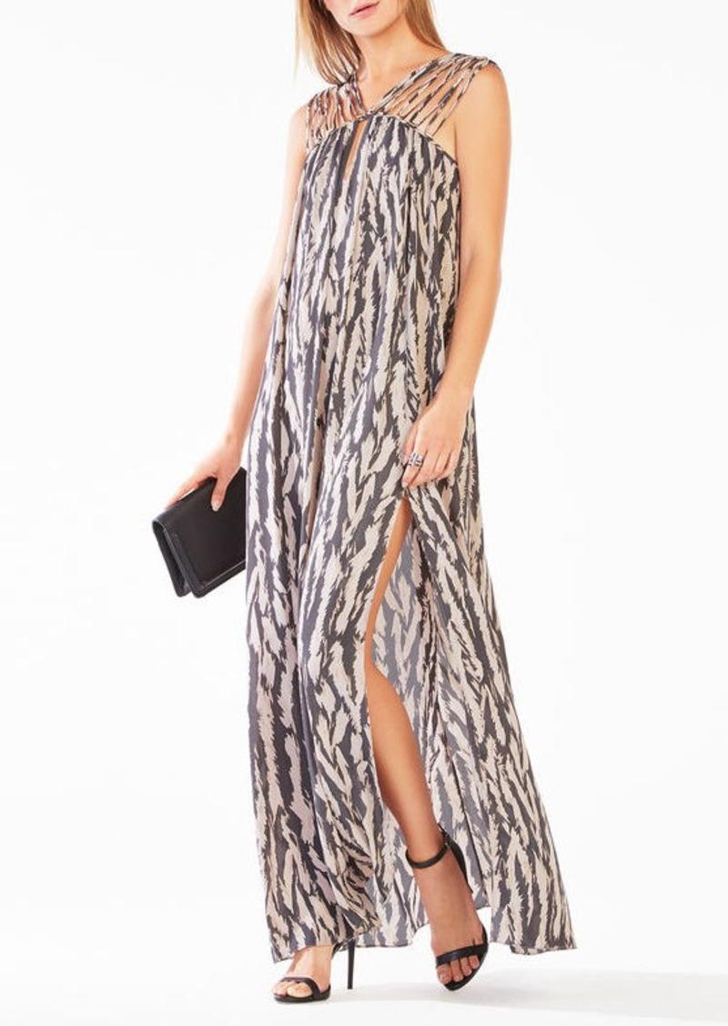 BCBG Audrii Multi-Strap Animal Print Maxi Dress