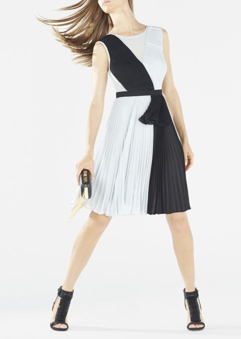 BCBG Bailie Pleated Color-Blocked Dress