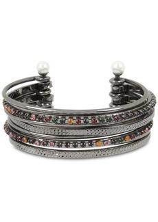 Bcbg Crystal & Imitation Pearl Multi-Row Cuff Bracelet