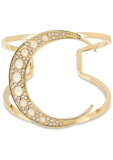 Bcbg Gold-Tone Crystal & Imitation Pearl Moon Cuff Bracelet