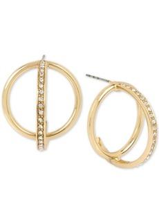 Bcbg Gold-Tone Pave Orbital Hoop Earrings