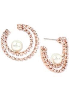 Bcbg Hematite-Tone Crystal & Imitation Pearl Double-Row Hoop Earrings