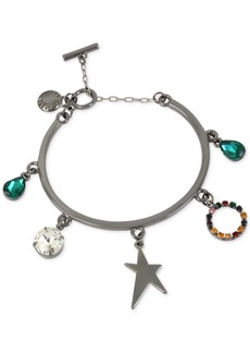 Bcbg Hematite-Tone Crystal Multi-Charm Bracelet