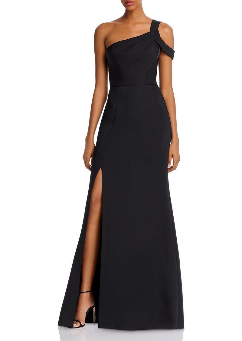 BCBG Matte Satin One-Shoulder Gown