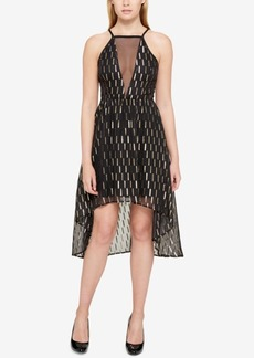 Guess Metallic & Mesh High-Low Dress