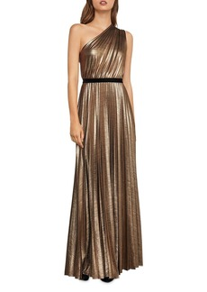 BCBG Metallic Pleated One-Shoulder Gown