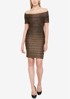 Guess Off-The-Shoulder Metallic Bandage Dress