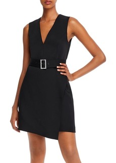 BCBG Satin Belted Shift Dress