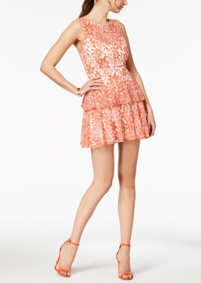 Bcbg Tiered Multicolor Lace Fit & Flare Dress
