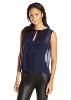 BCBGMAXAZRIA Women's Nettie Sleeveless Blouse with Pleated Bib