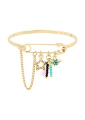 BCBGeneration Angeleno Summer Crystal Charm Safety Pin Cuff Bracelet