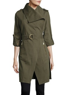 BCBGENERATION Belted Asymmetrical Tench Coat
