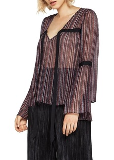 BCBGeneration Birchy Stripes Peasant Bell Sleeve Top