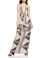 BCBGeneration Blocked Ditsy-Print Maxi Halter Dress