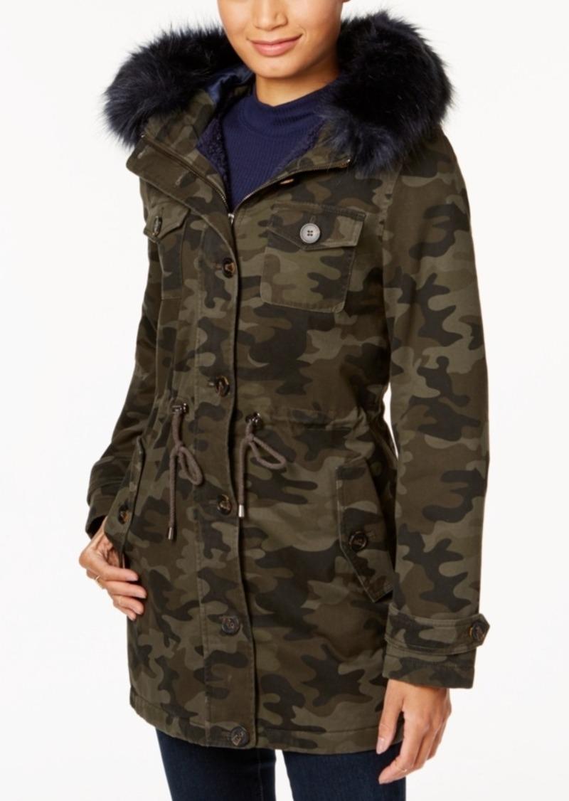 BCBG BCBGeneration Camo-Print Faux-Fur-Trim Coat | Outerwear ...