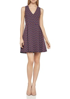 BCBGeneration Chevron Jacquard Fit-and-Flare Dress