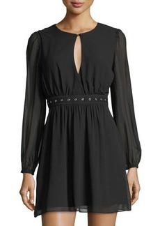 BCBGeneration Chiffon Grommet-Belted Dress