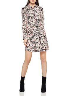 BCBGeneration Chiffon-Shoulder Floral Shirt Dress