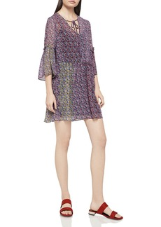 BCBGeneration Color-Block Floral Print Drop-Waist Dress