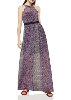 BCBGeneration Color-Block Floral Print Maxi Dress