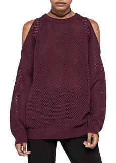 BCBGeneration Cotton Open-Stitch Sweater
