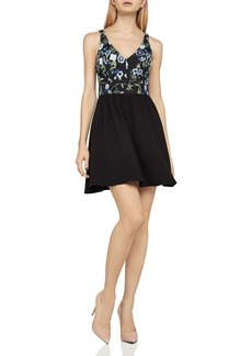 BCBGeneration Embroidered Fit-and-Flare Dress