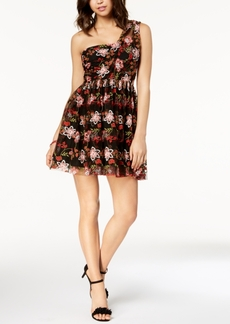 BCBGeneration Embroidered Mesh Fit & Flare Dress