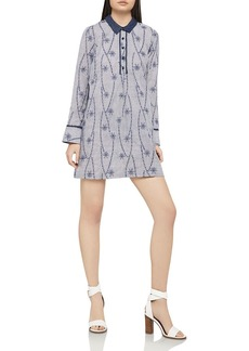 BCBGeneration Embroidered Pinstriped Shirt Dress