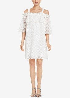 BCBGeneration Eyelet Cold-Shoulder Shift Dress
