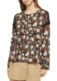 Far East Floral Lace-Insert Top