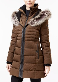 BCBGeneration Faux-Fur-Trim Mixed-Media Down Puffer Coat