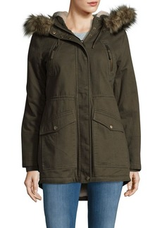 BCBGeneration Faux-Fur Trimmed Cotton Anorak