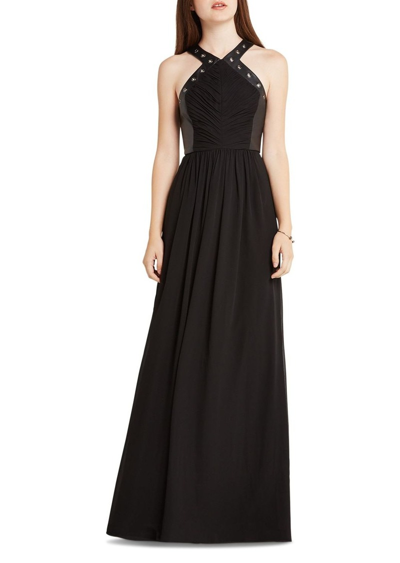 BCBGeneration Faux Leather Detail Maxi Dress